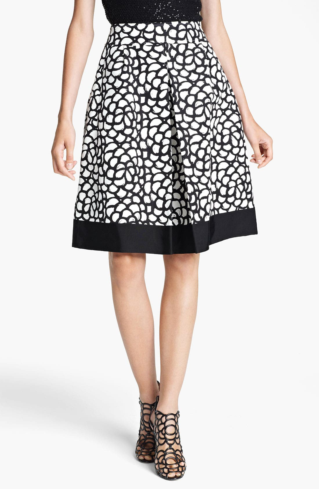 Alternate Image 1 Selected - Oscar de la Renta Print Pleated Skirt