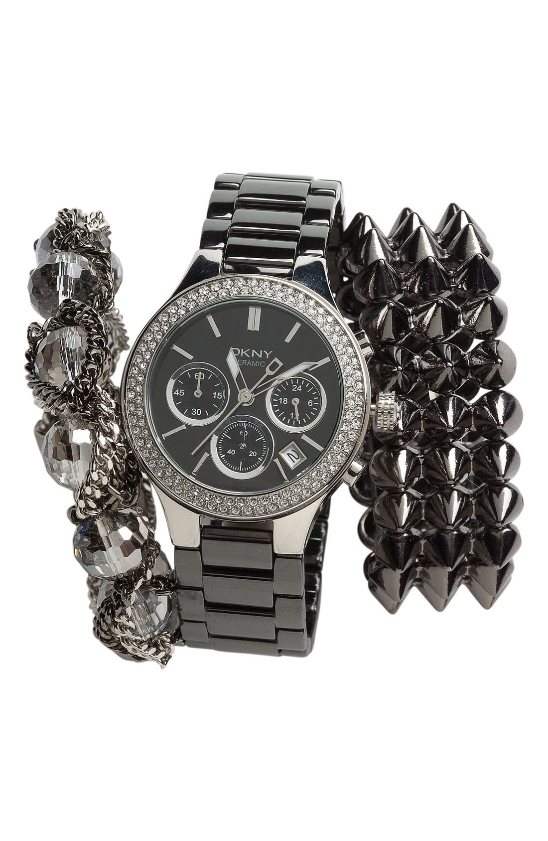 Alternate Image 2  - DKNY Ceramic Crystal Bezel Bracelet Watch