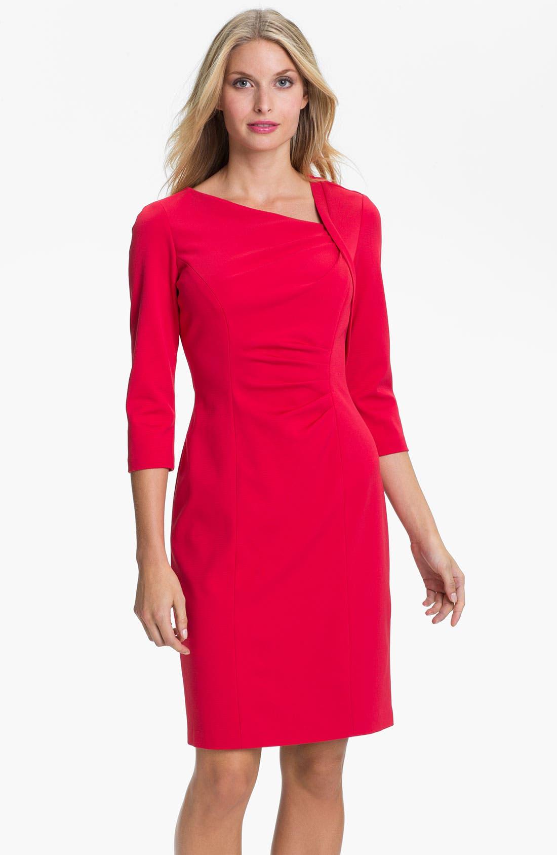Alternate Image 1 Selected - Kay Unger Asymmetrical Neck Knit Sheath Dress