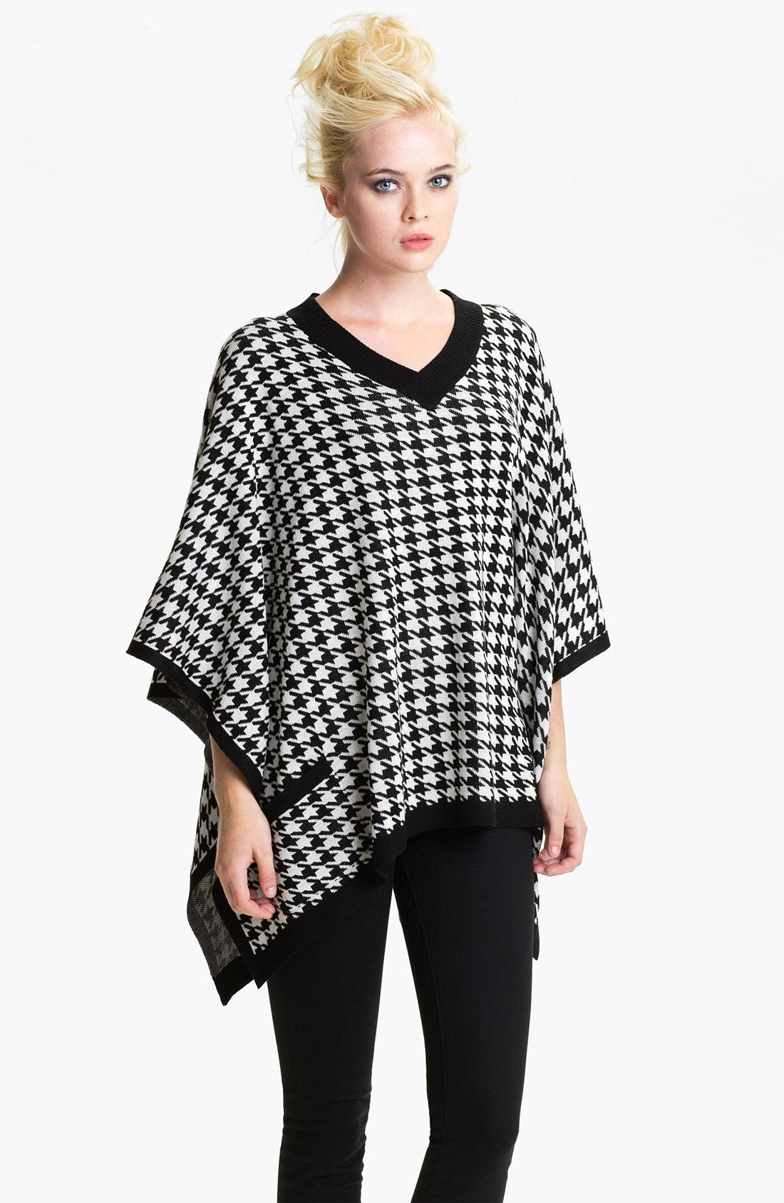 Alternate Image 1 Selected - Brazen Houndstooth Knit Poncho