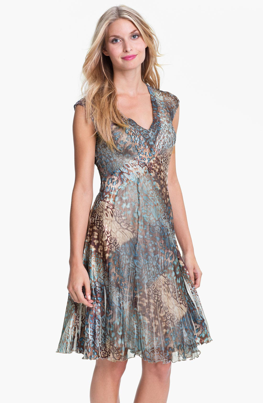 Alternate Image 1 Selected - Komarov V-Neck Animal Print Chiffon Dress