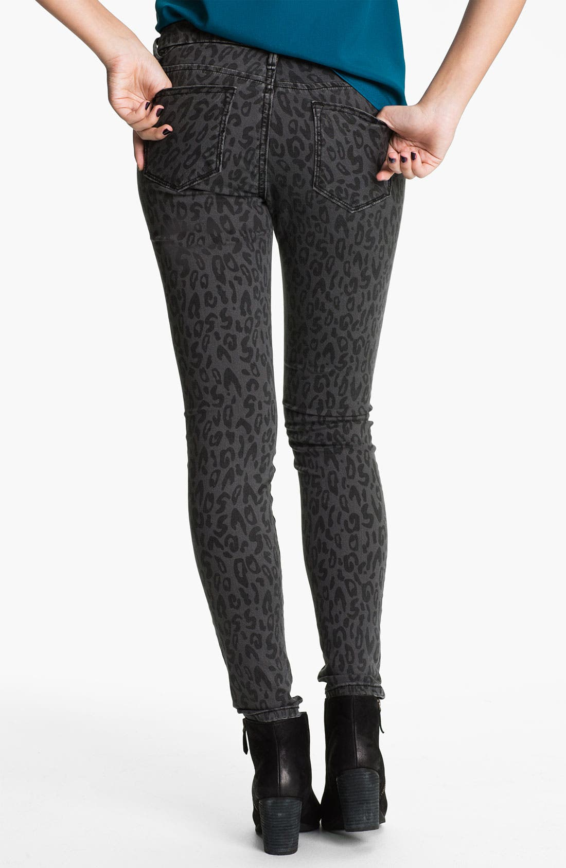 Alternate Image 1 Selected - Vigoss Leopard Print Skinny Jeans (Juniors)