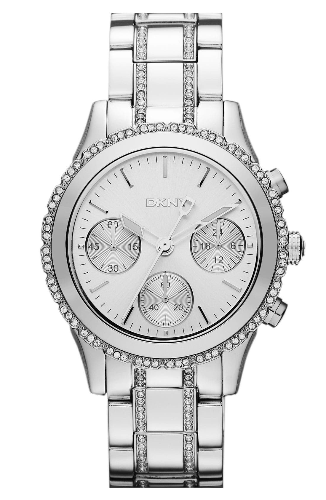 Main Image - DKNY Crystal Chronograph Bracelet Watch, 38mm