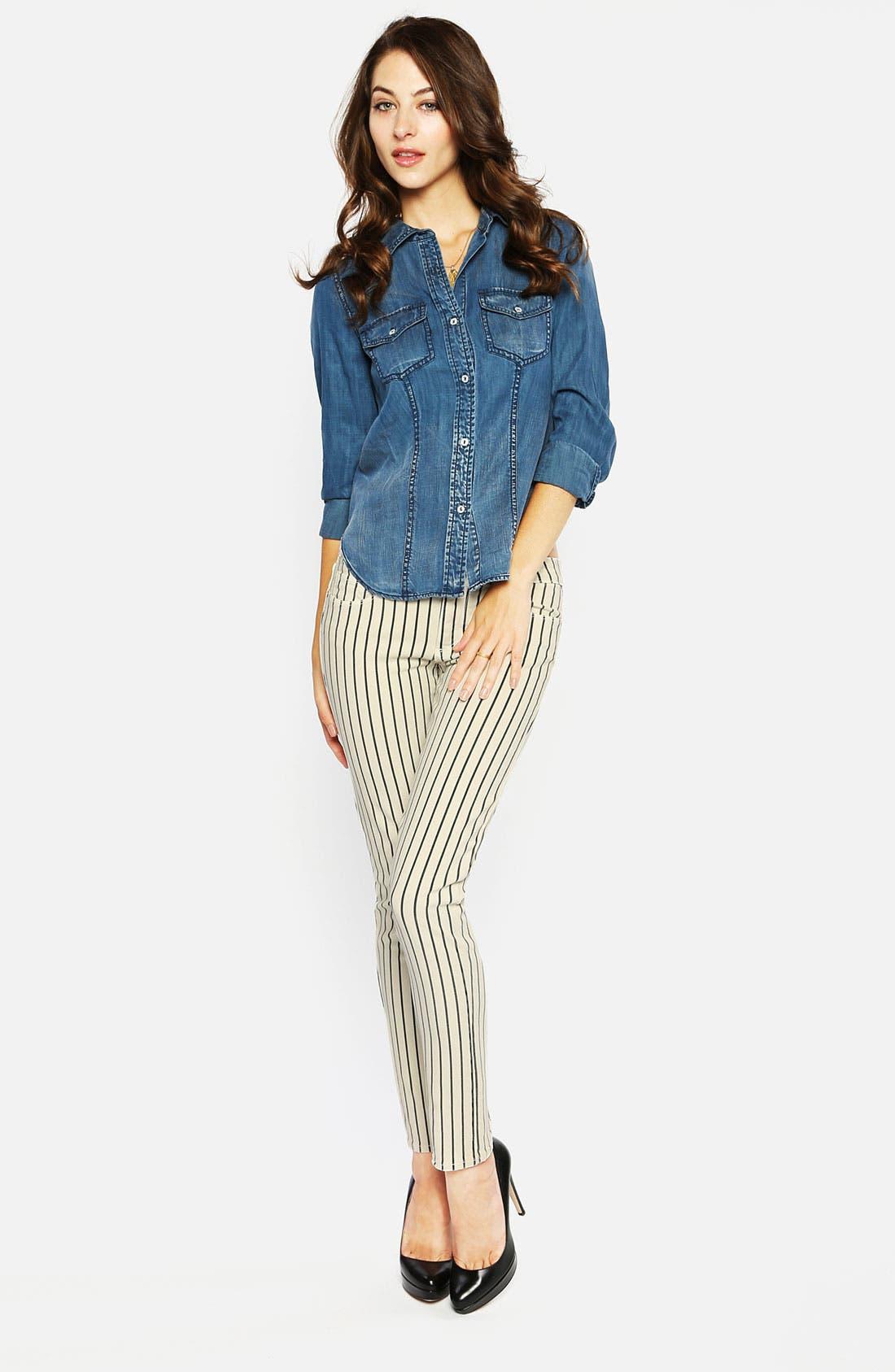 Alternate Image 4  - Paige Denim 'Skyline' Ankle Peg Stripe Skinny Jeans (Birch/Black)