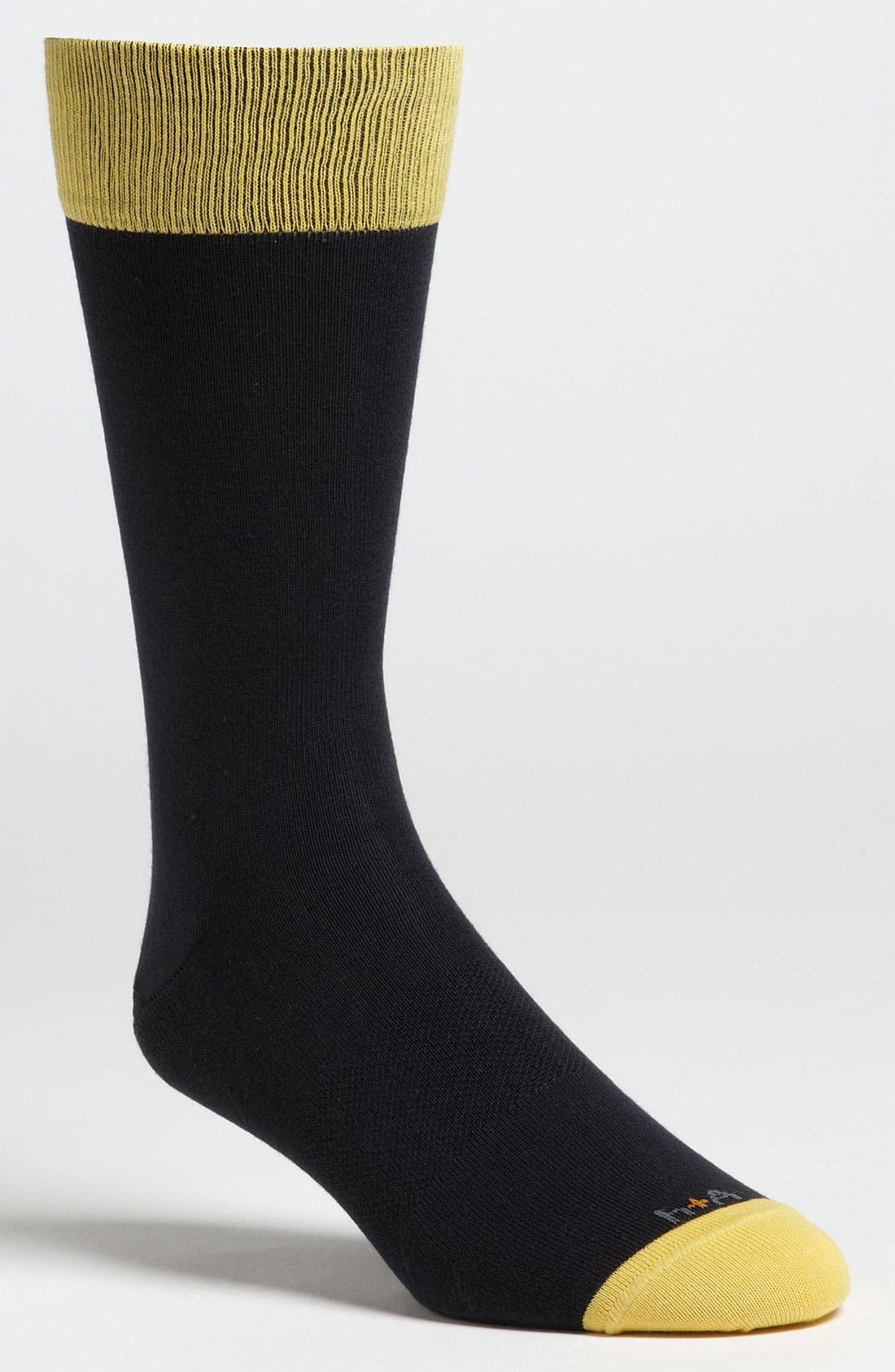 Main Image - hook + ALBERT Pima Cotton Color Block Socks