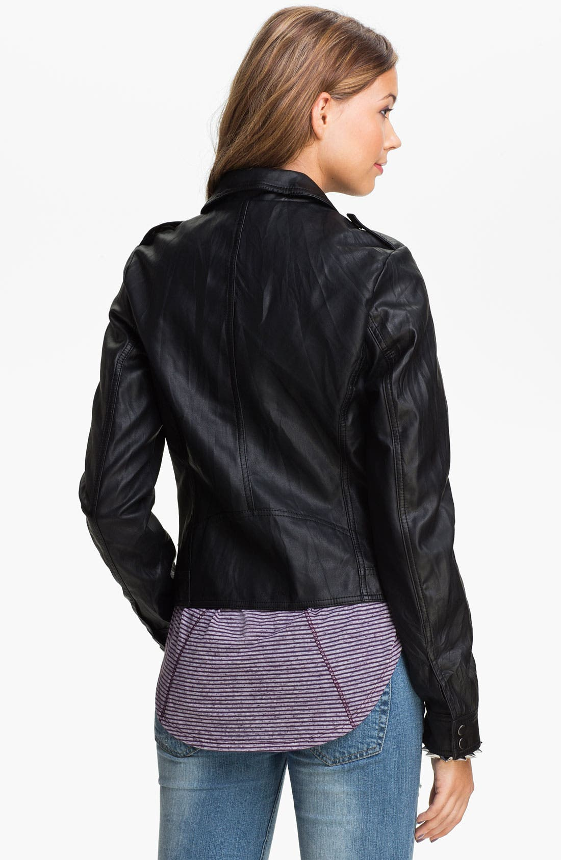 Alternate Image 2  - Lost Faux Leather Biker Jacket (Juniors)