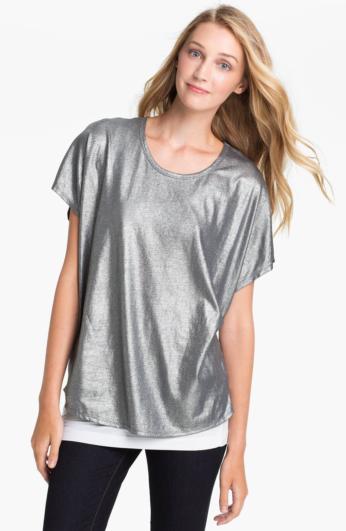 Alternate Image 1 Selected - Two by Vince Camuto Slouchy Foil Tee