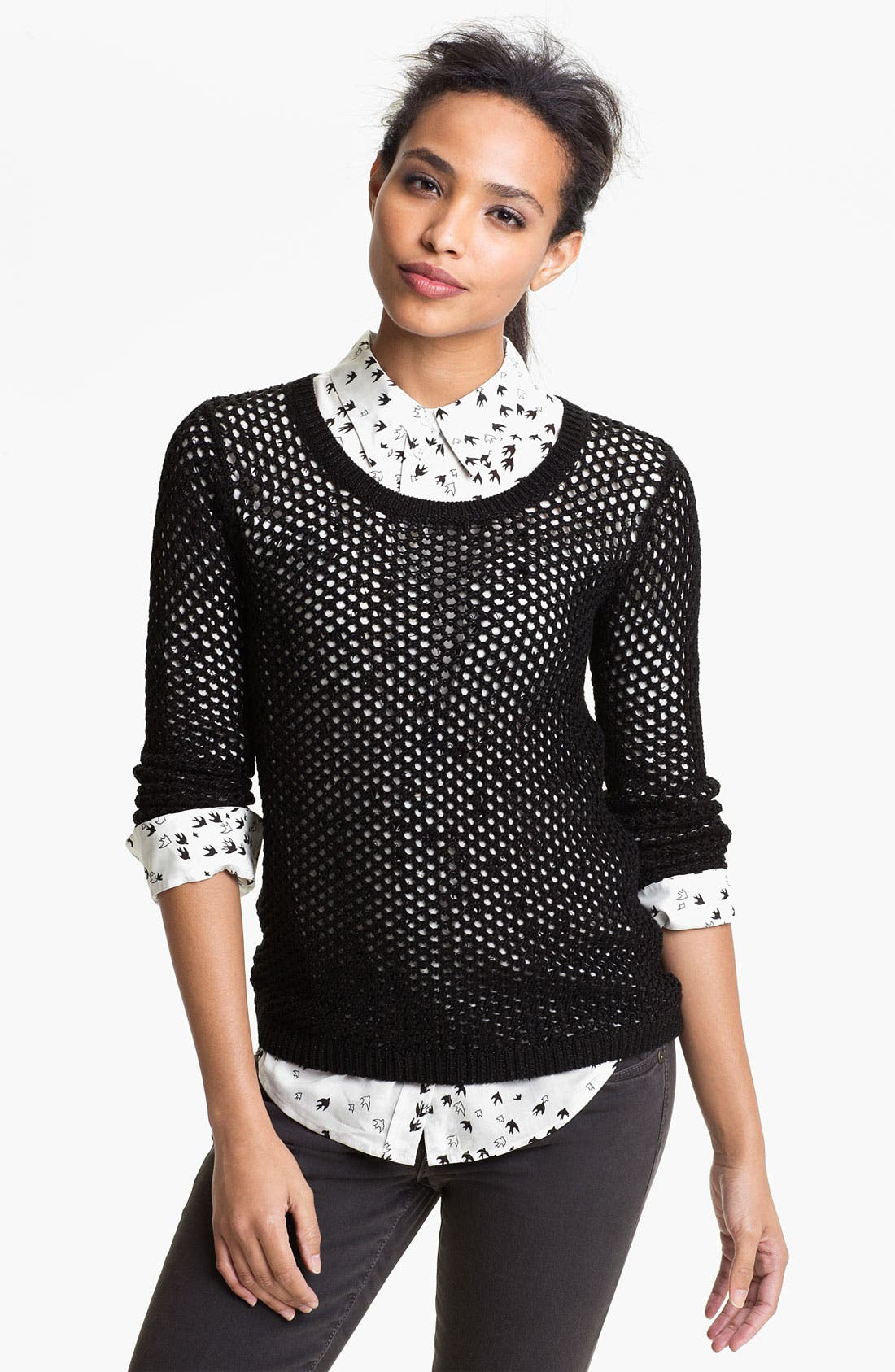 Main Image - Two by Vince Camuto Fishnet Sweater