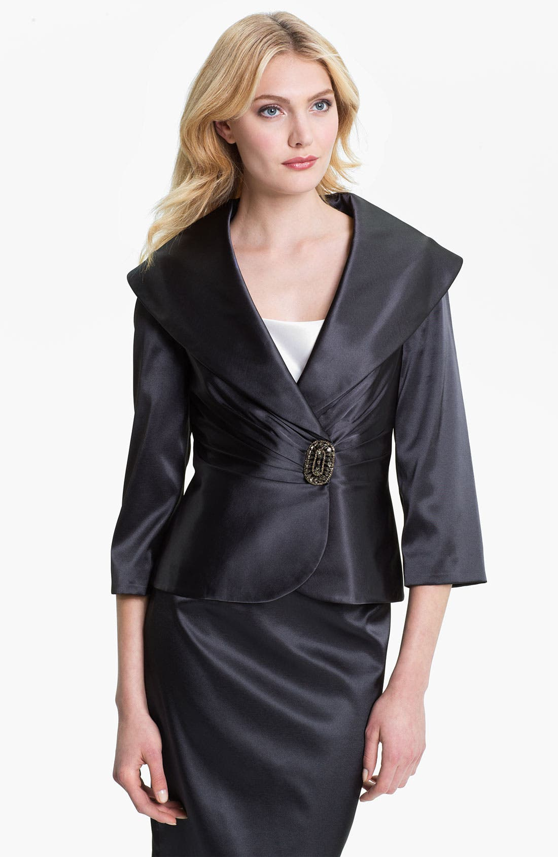Alternate Image 1 Selected - Adrianna Papell Portrait Collar Satin Jacket