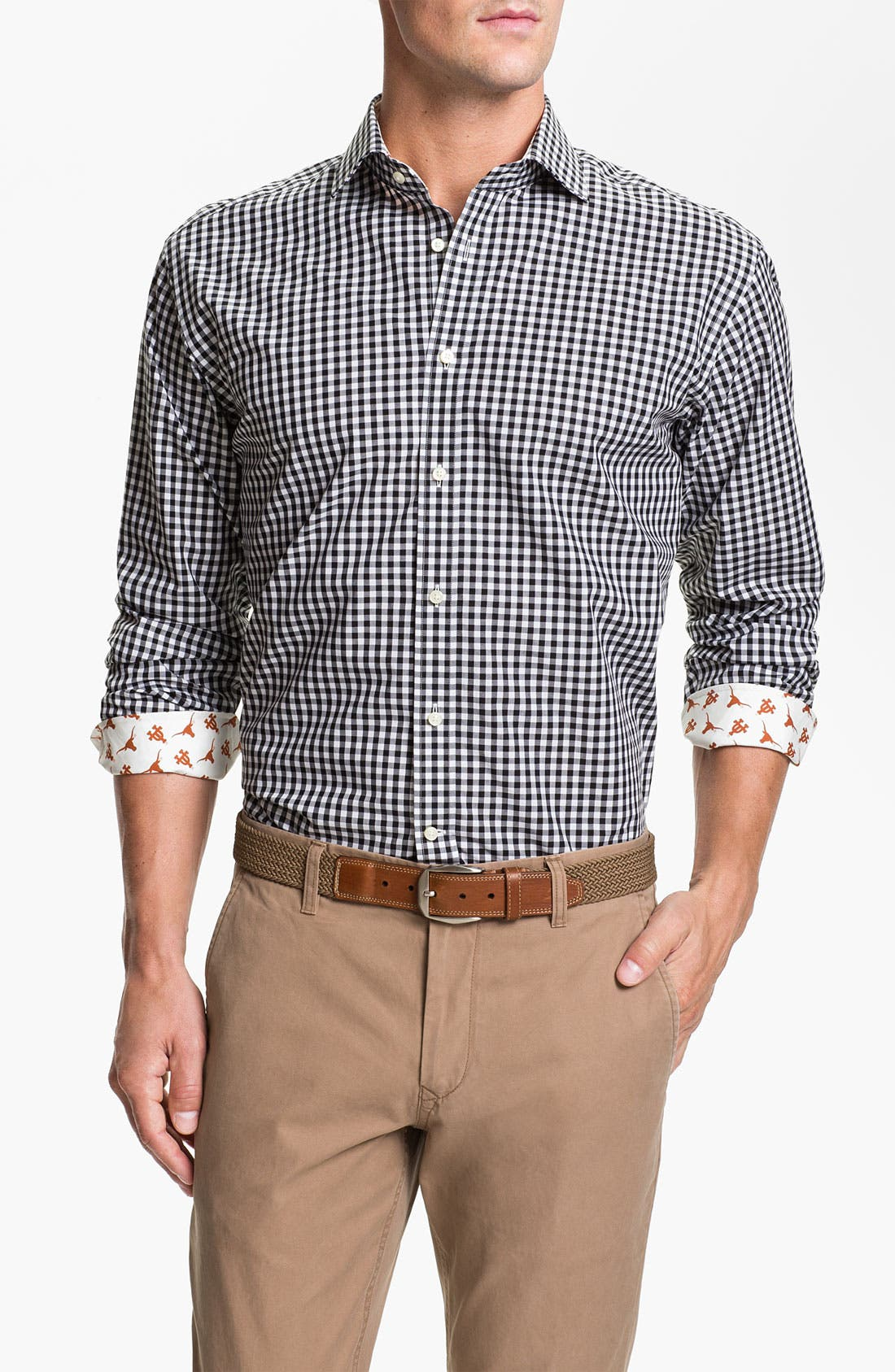 Alternate Image 1 Selected - Thomas Dean 'University of Texas' Gingham Sport Shirt (Online Only)
