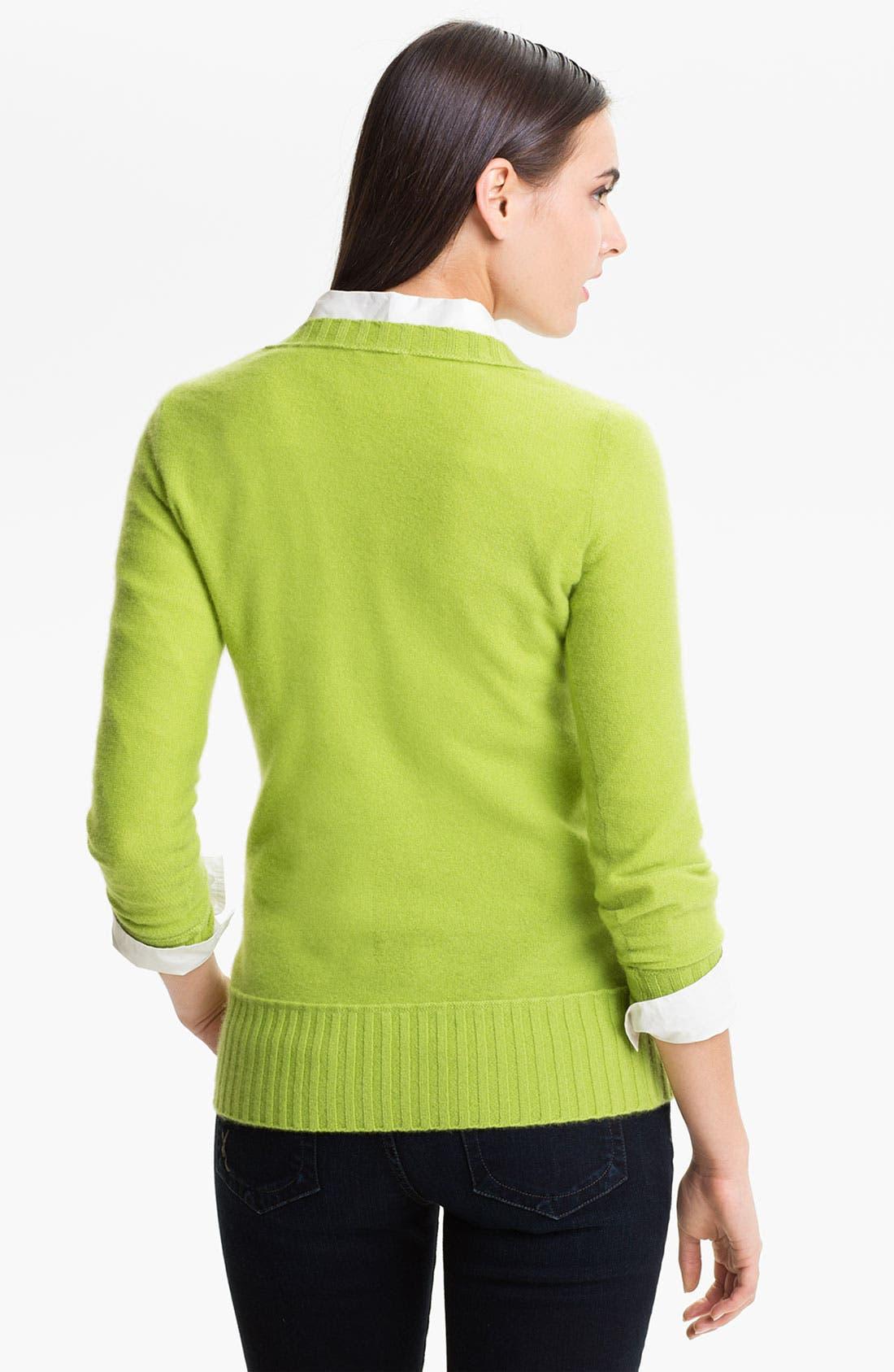 Alternate Image 2  - Halogen® V-Neck Cashmere Sweater (Online Exclusive)
