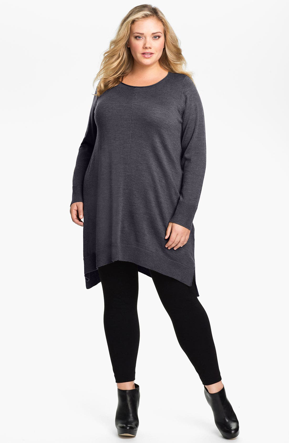 Alternate Image 1 Selected - Eileen Fisher Merino Wool Layering Dress (Plus Size)