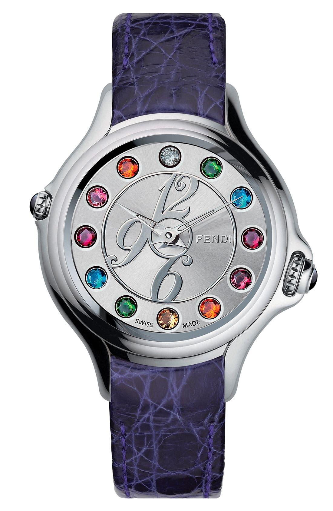 Main Image - Fendi 'Crazy Carats' Teju Lizardskin Strap Watch, 38mm