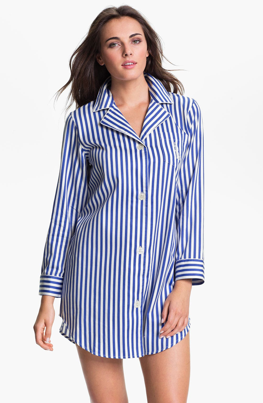 Alternate Image 1 Selected - Lauren Ralph Lauren Sleepwear Stripe Sateen Nightshirt