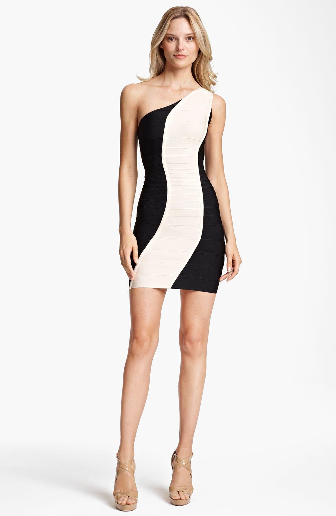 Alternate Image 1 Selected - Herve Leger Colorblock One Shoulder Dress