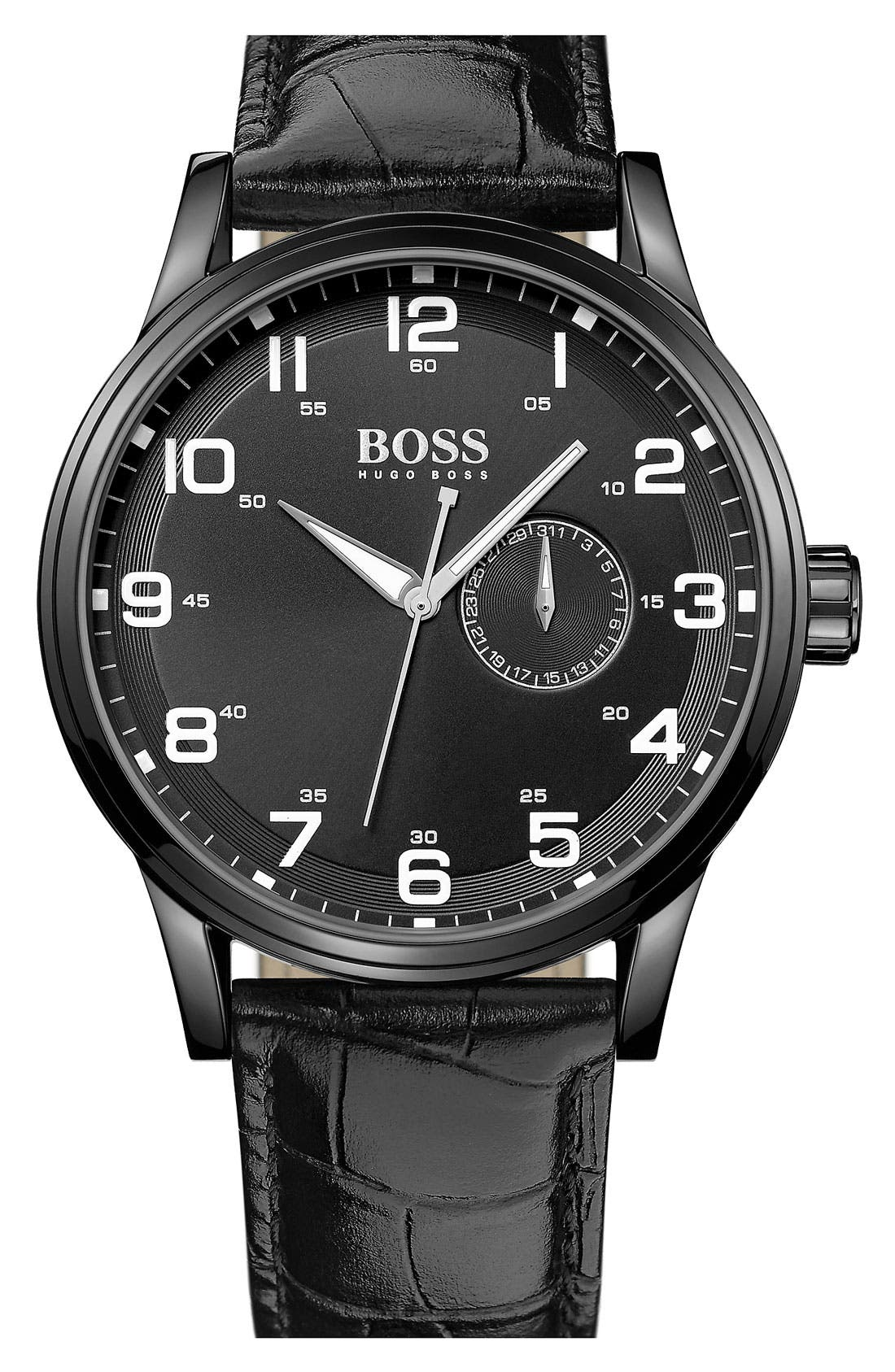 Alternate Image 1 Selected - BOSS HUGO BOSS 'Aviator' Round Leather Strap Watch, 44mm