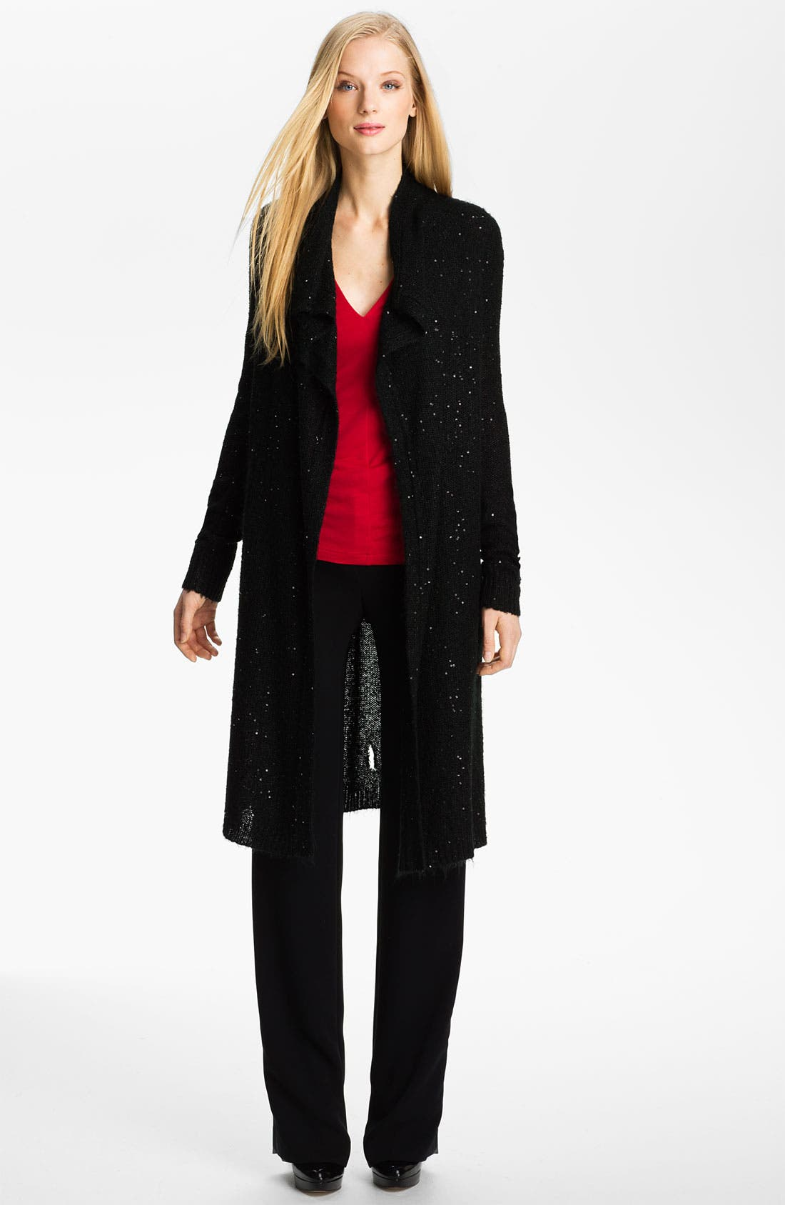 Alternate Image 4  - Anne Klein Sequined Long Cardigan (Petite)