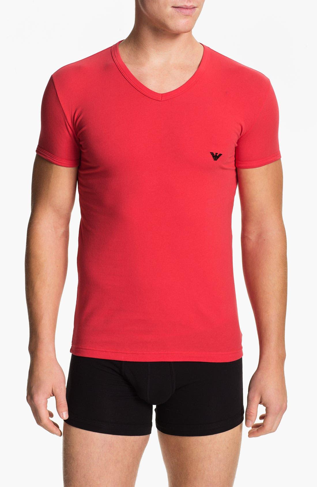 Alternate Image 1 Selected - Emporio Armani V-Neck Stretch Cotton T-Shirt
