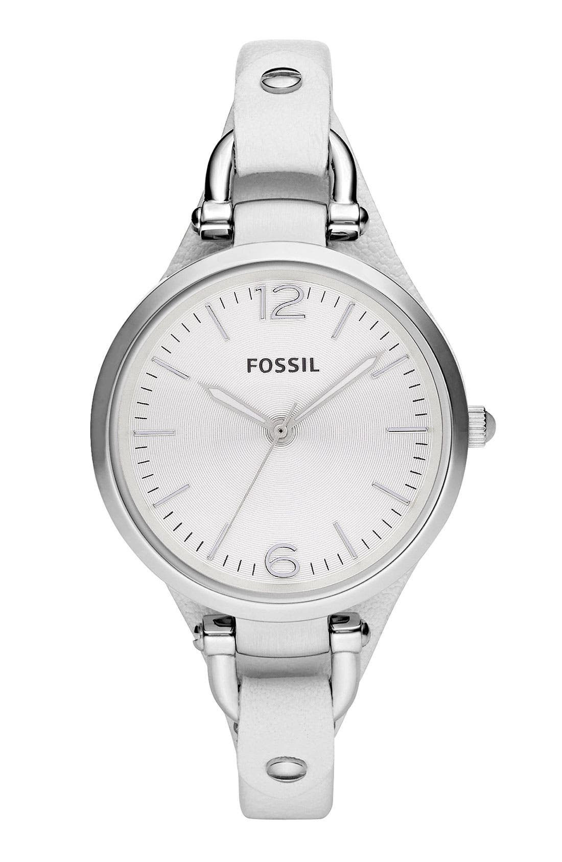 Main Image - Fossil Round Dial Leather Strap Watch, 32mm
