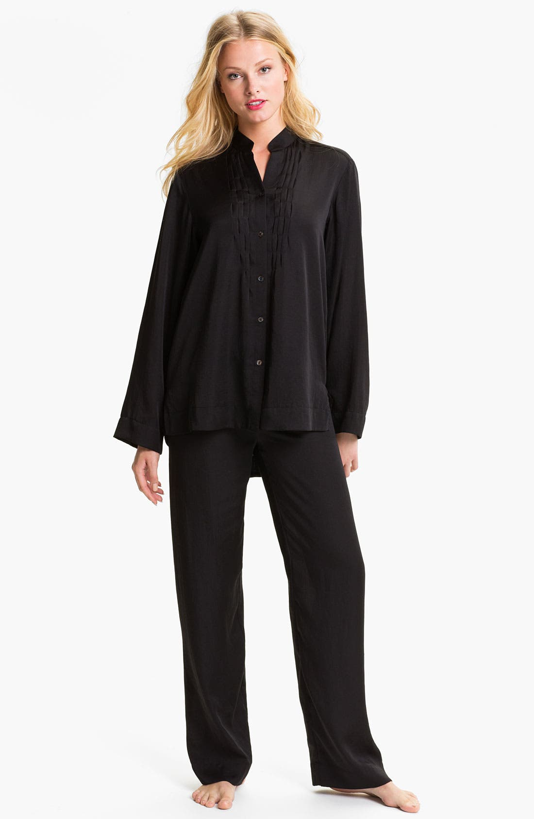 Main Image - Donna Karan Laundered Satin Pajamas