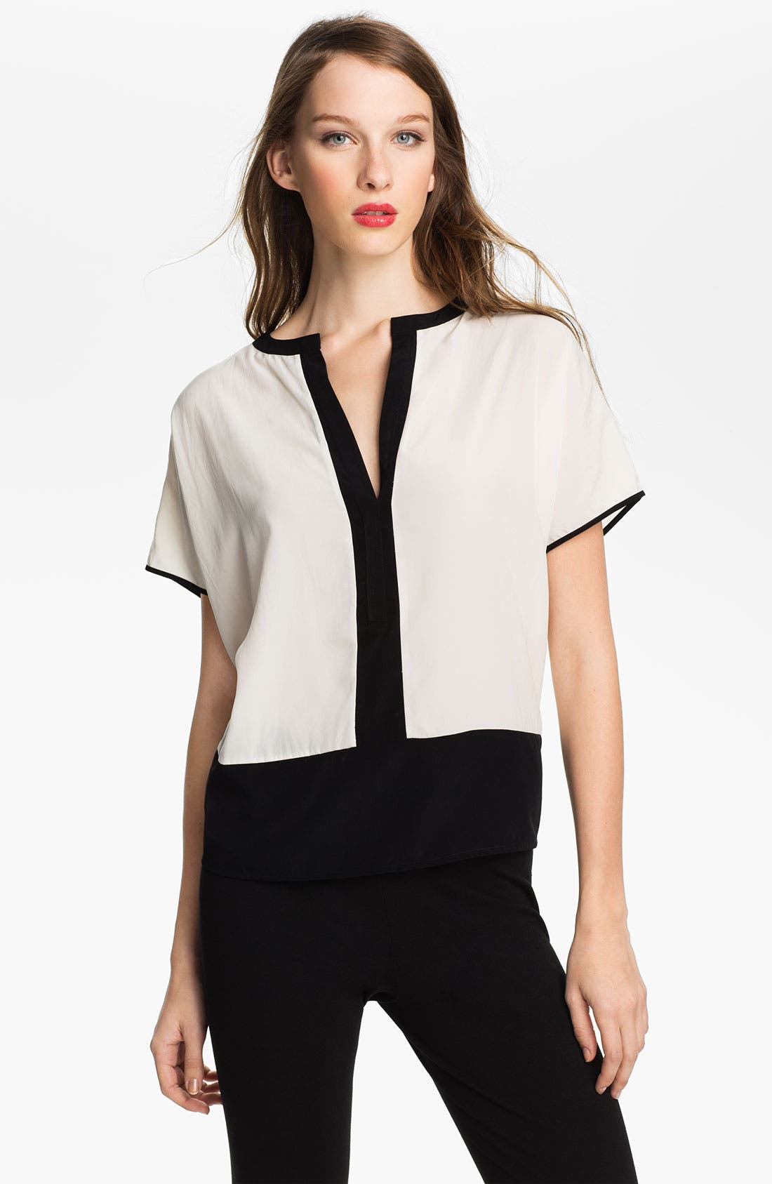Main Image - Vince Camuto Split Neck Colorblock Blouse