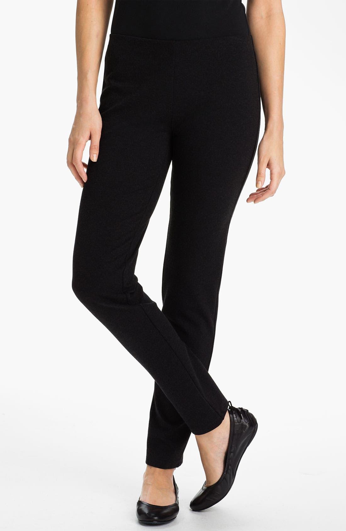 Alternate Image 1 Selected - Eileen Fisher Slim Ponte Knit Pants (Petite)