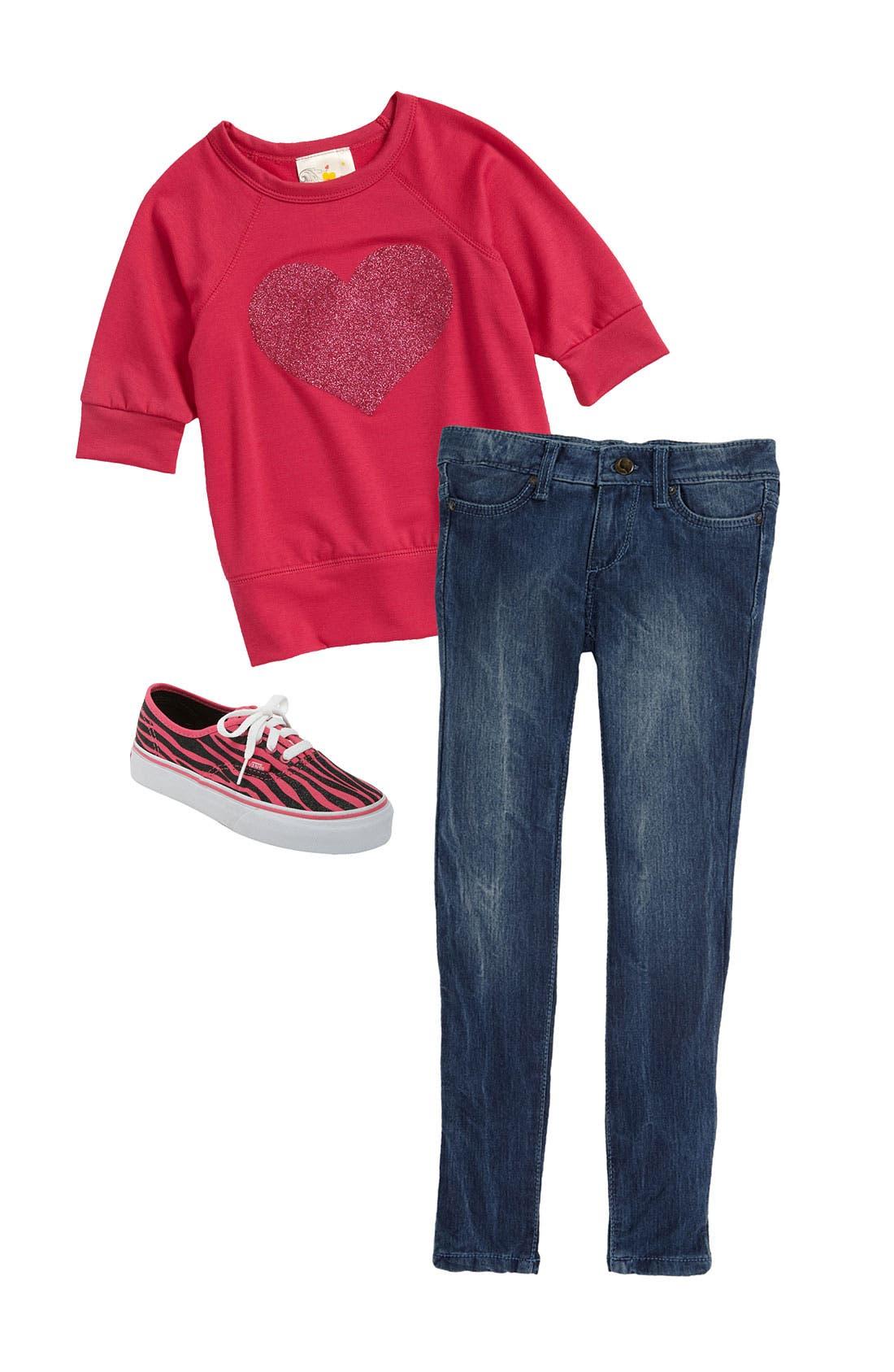Alternate Image 1 Selected - Jenna & Jessie Sweater & Joe's Jeans (Little Girls)