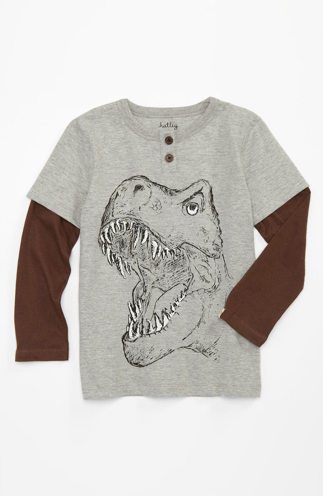 Alternate Image 1 Selected - Hatley 'Dinosaurs' Graphic Henley T-Shirt (Toddler)