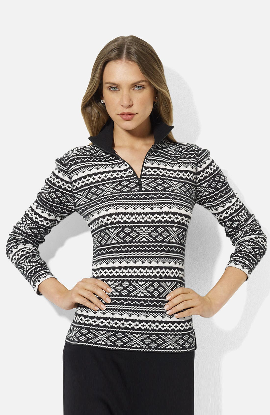 Alternate Image 1 Selected - Lauren Ralph Lauren Half Zip Top (Petite) (Online Exclusive)