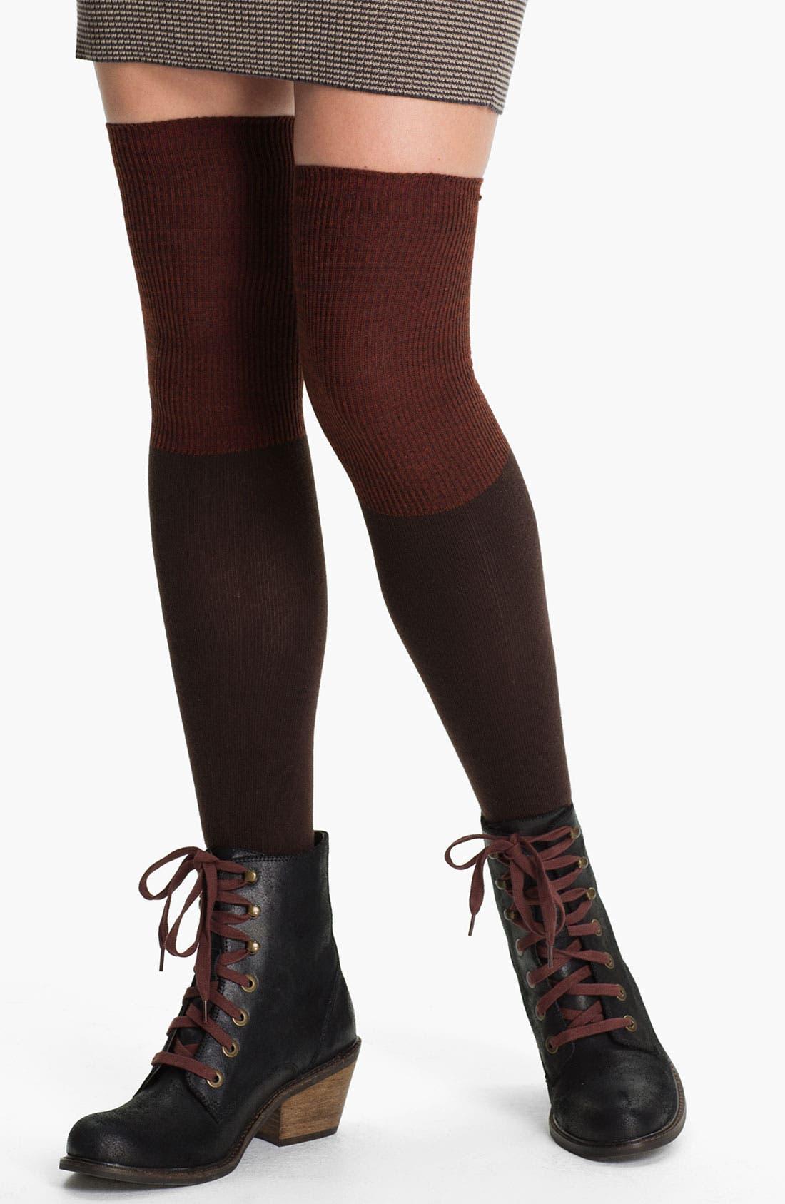 Alternate Image 1 Selected - K. Bell Socks Colorblock Over-The-Knee Socks