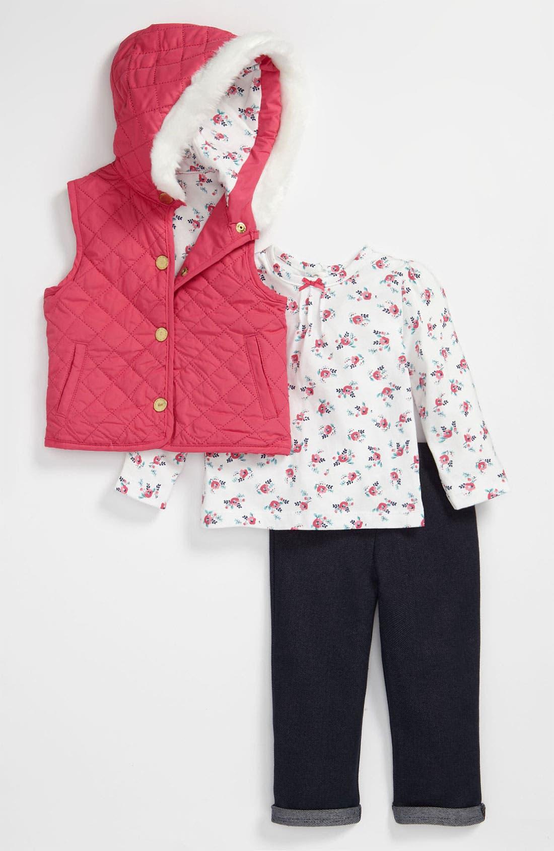 Main Image - Little Me 'Magenta' Top, Leggings & Vest (Infant)
