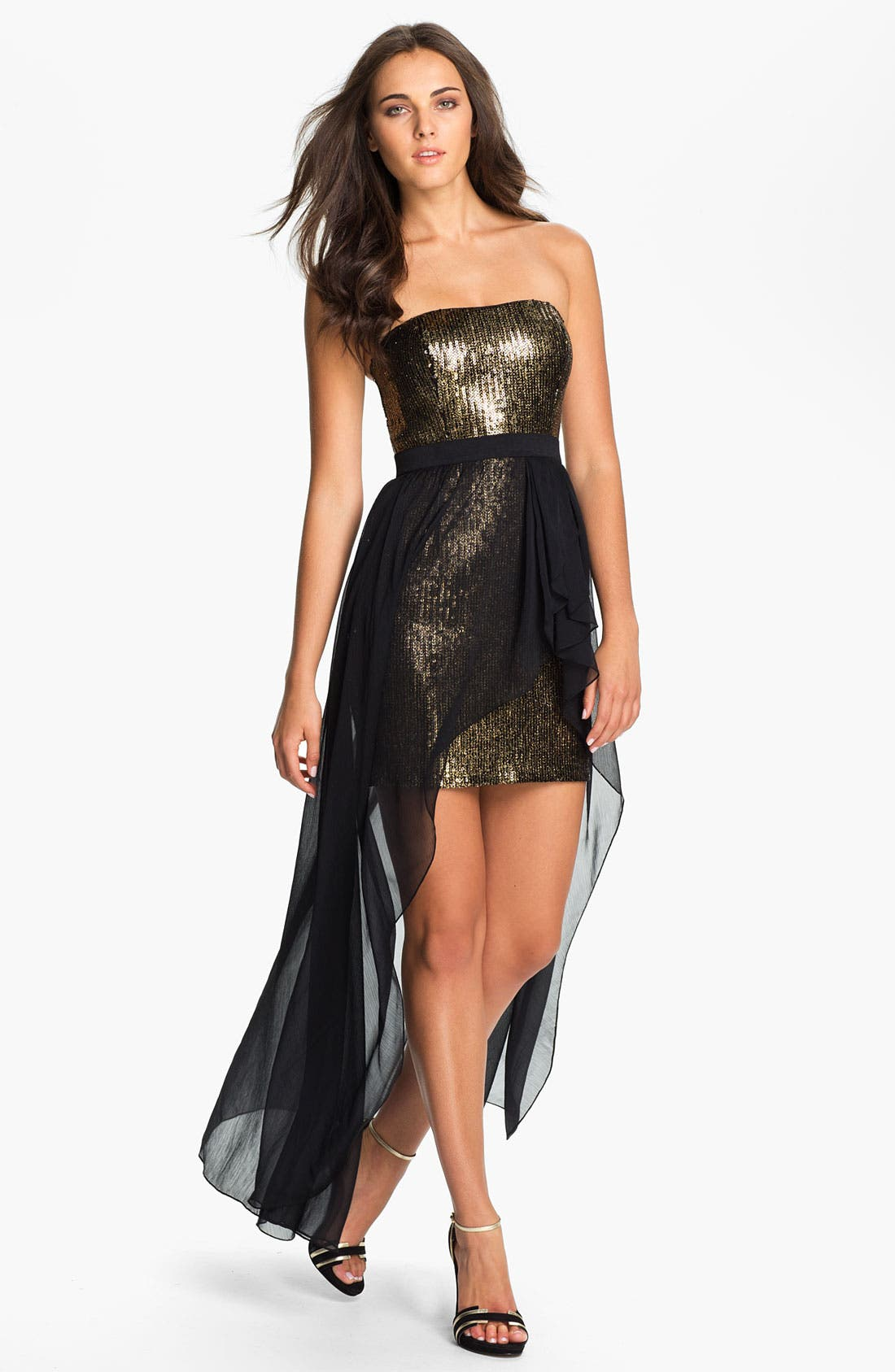 Main Image - Aidan Mattox High/Low Chiffon Overlay Sequin Dress