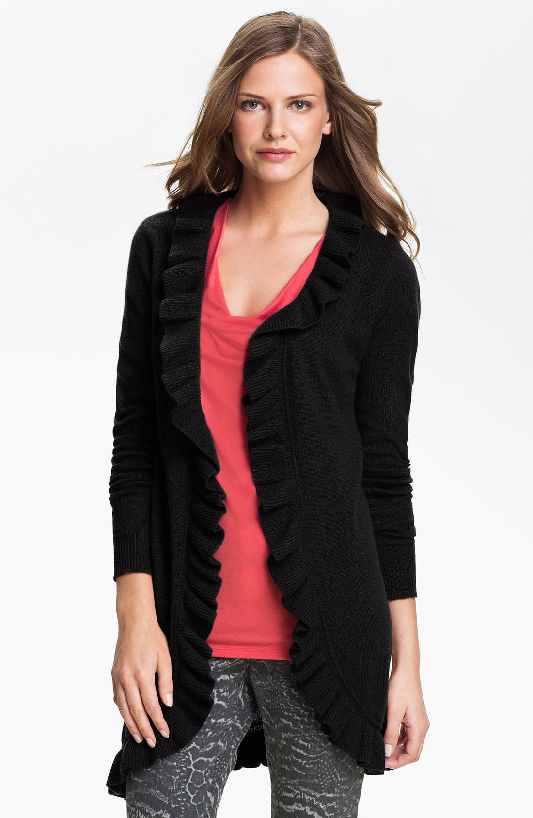 Alternate Image 1 Selected - Premise Cashmere Ruffle Cardigan