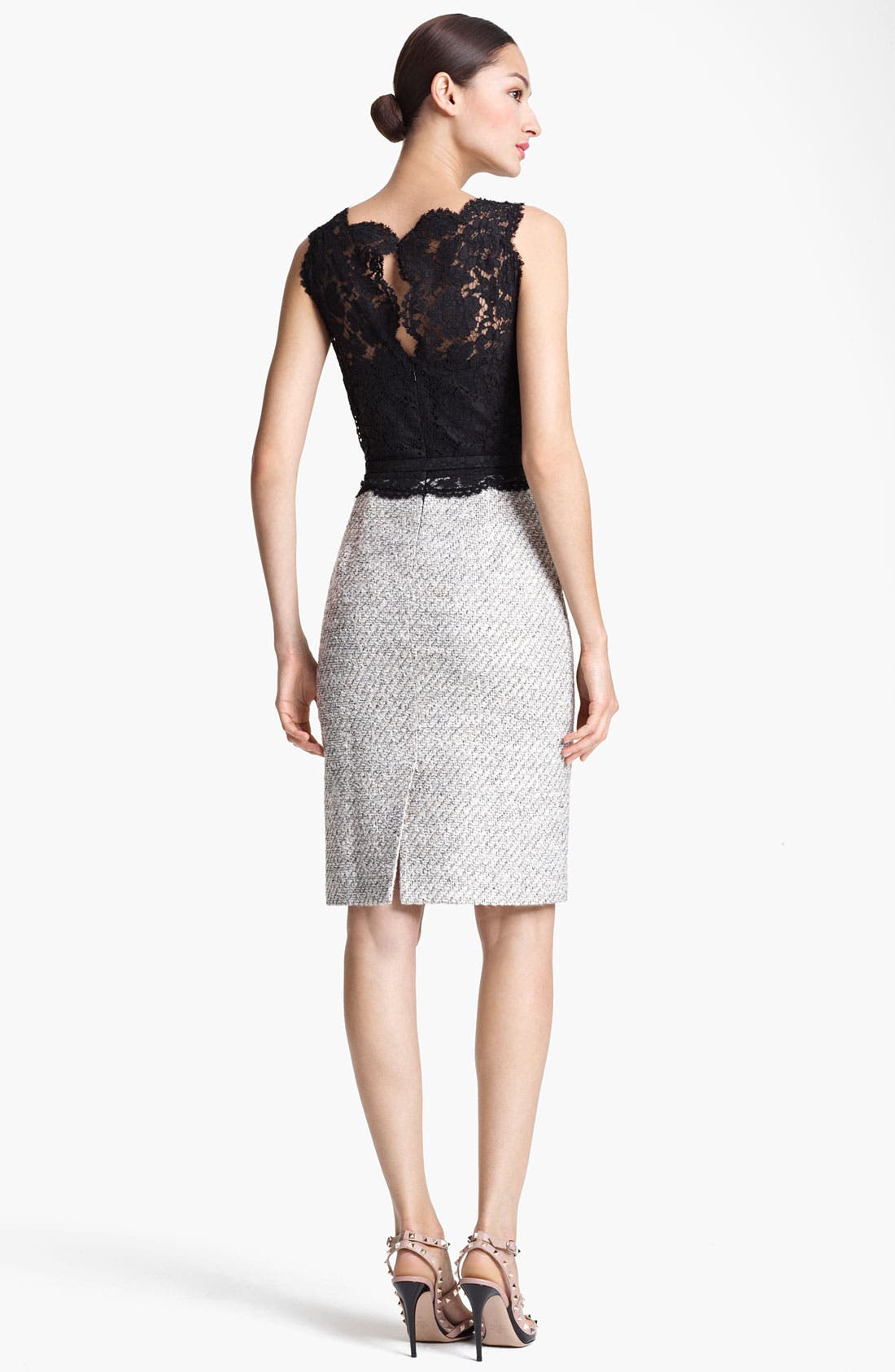 Alternate Image 2  - Valentino Belted Lace & Tweed Sheath Dress