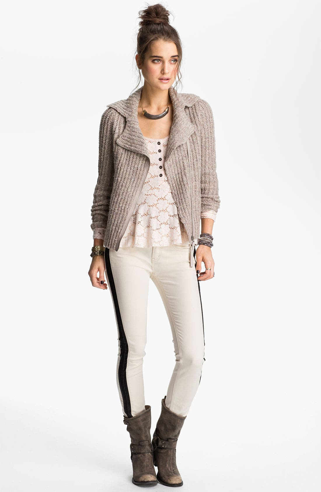 Main Image - Free People 'Salt & Pepper' Knit Biker Jacket