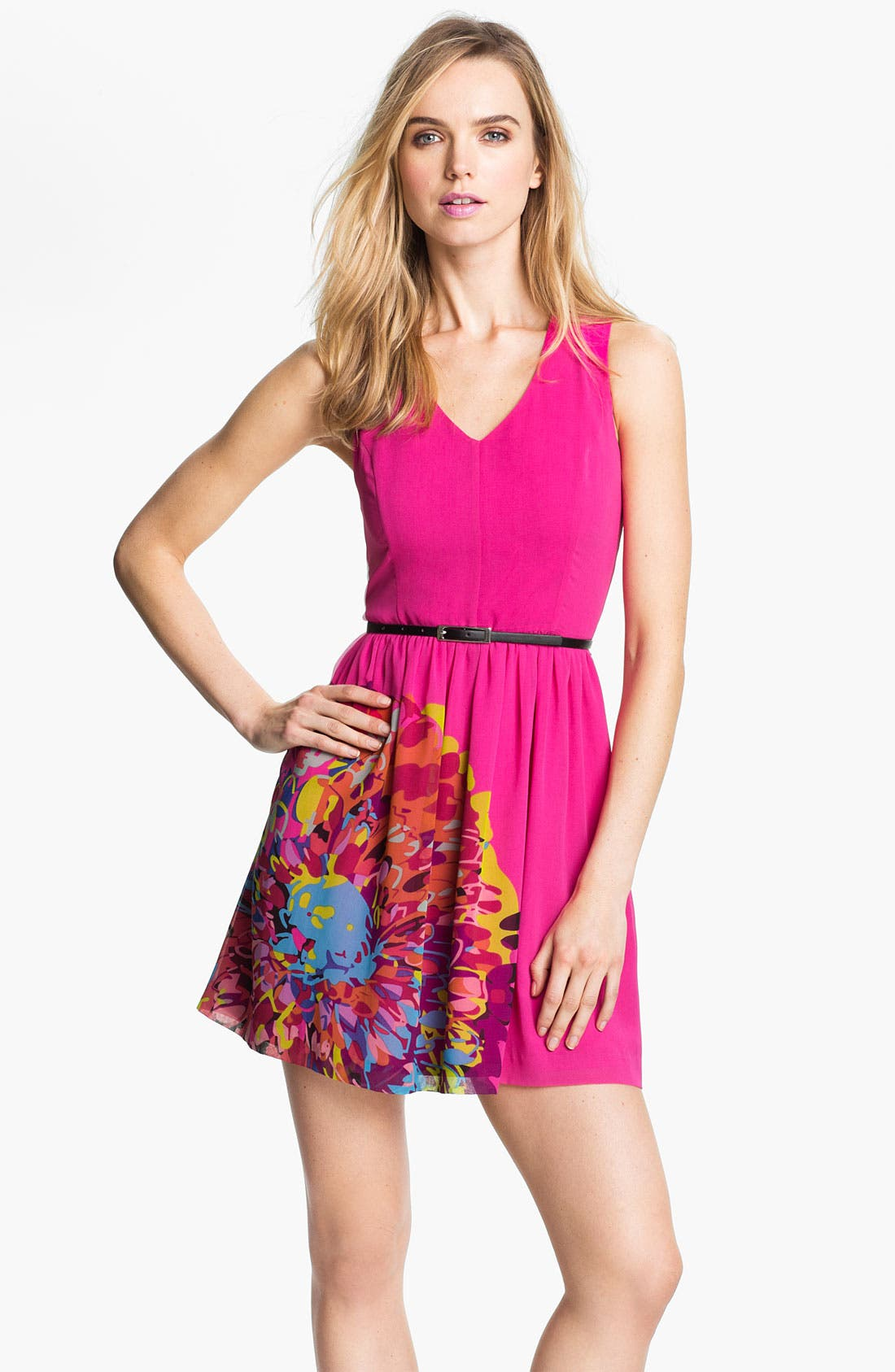 Main Image - Kensie Placed Print Belted Dress