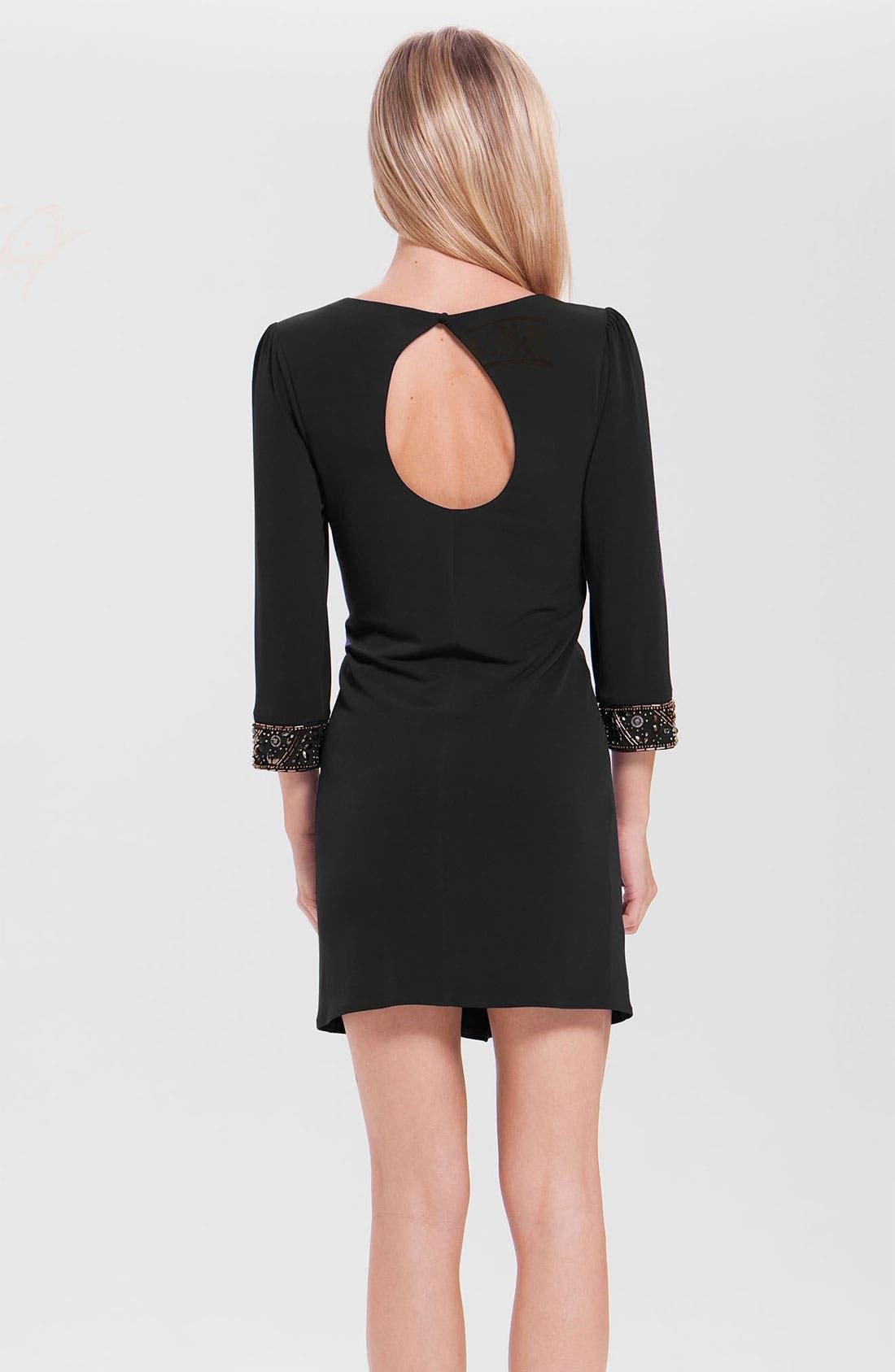 Alternate Image 2  - Laundry by Shelli Segal Embellished Cuff Jersey Shift Dress