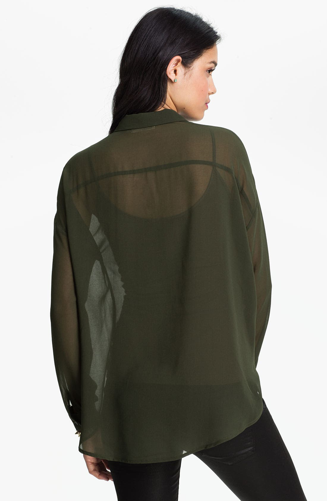 Alternate Image 2  - Elodie Studded Chiffon Shirt (Juniors)