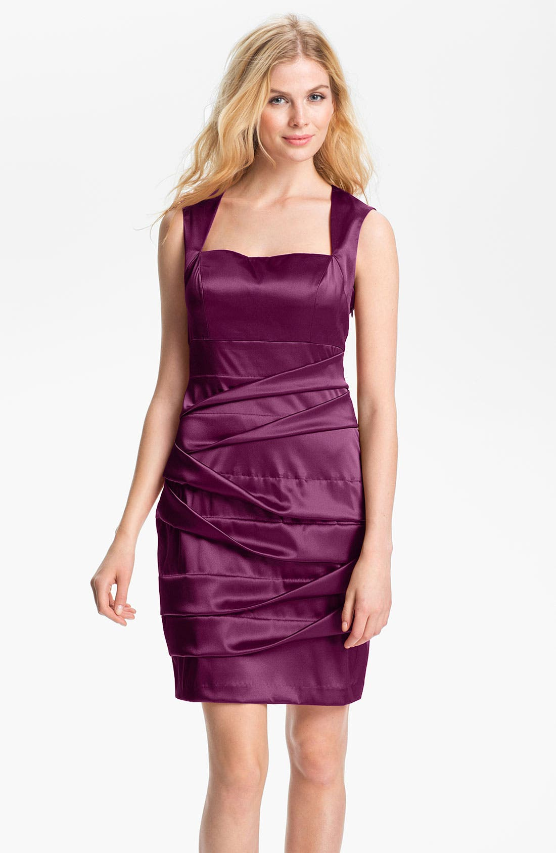 Alternate Image 1 Selected - Hailey by Adrianna Papell Back Cutout Pleated Satin Dress