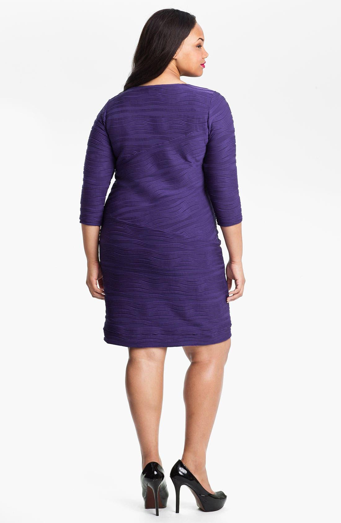 Alternate Image 2  - Calvin Klein Side Tie Textured Sheath Dress (Plus)