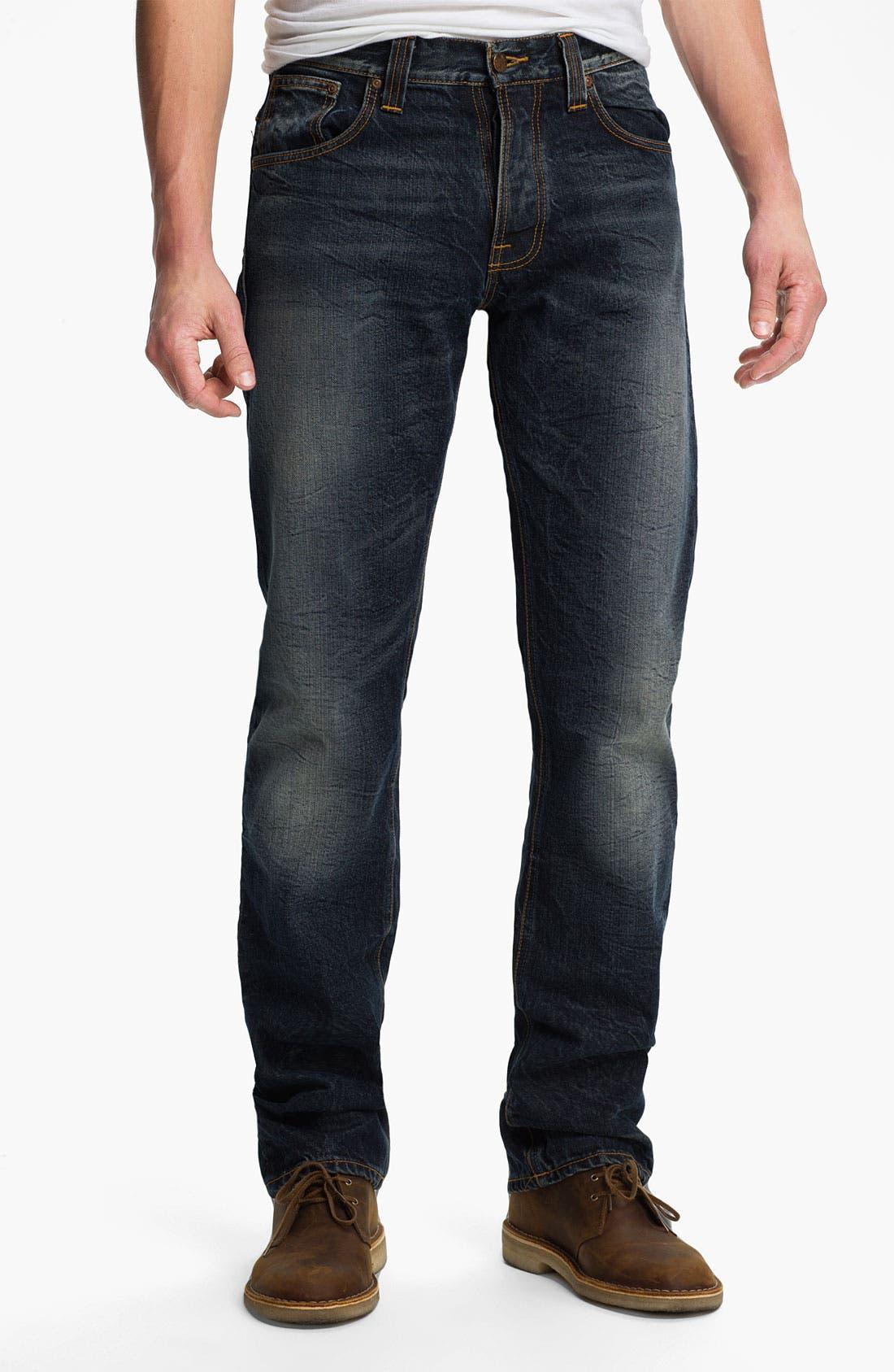Alternate Image 2  - Nudie 'Average Joe' Straight Leg Jeans (Organic Thorough Indigo)