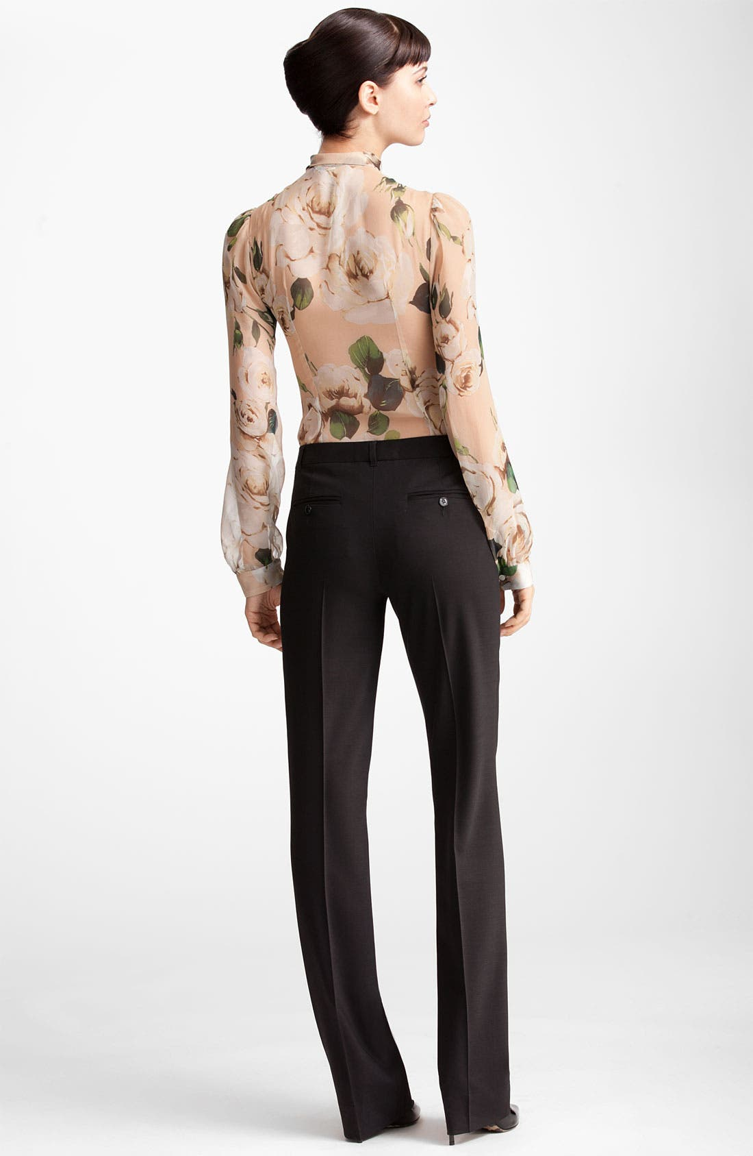 Alternate Image 3  - Dolce&Gabbana Rose Print Chiffon Blouse