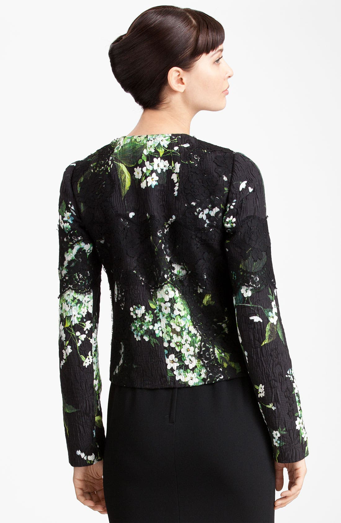 Alternate Image 2  - Dolce&Gabbana Lily Print & Lace Detail Brocade Jacket