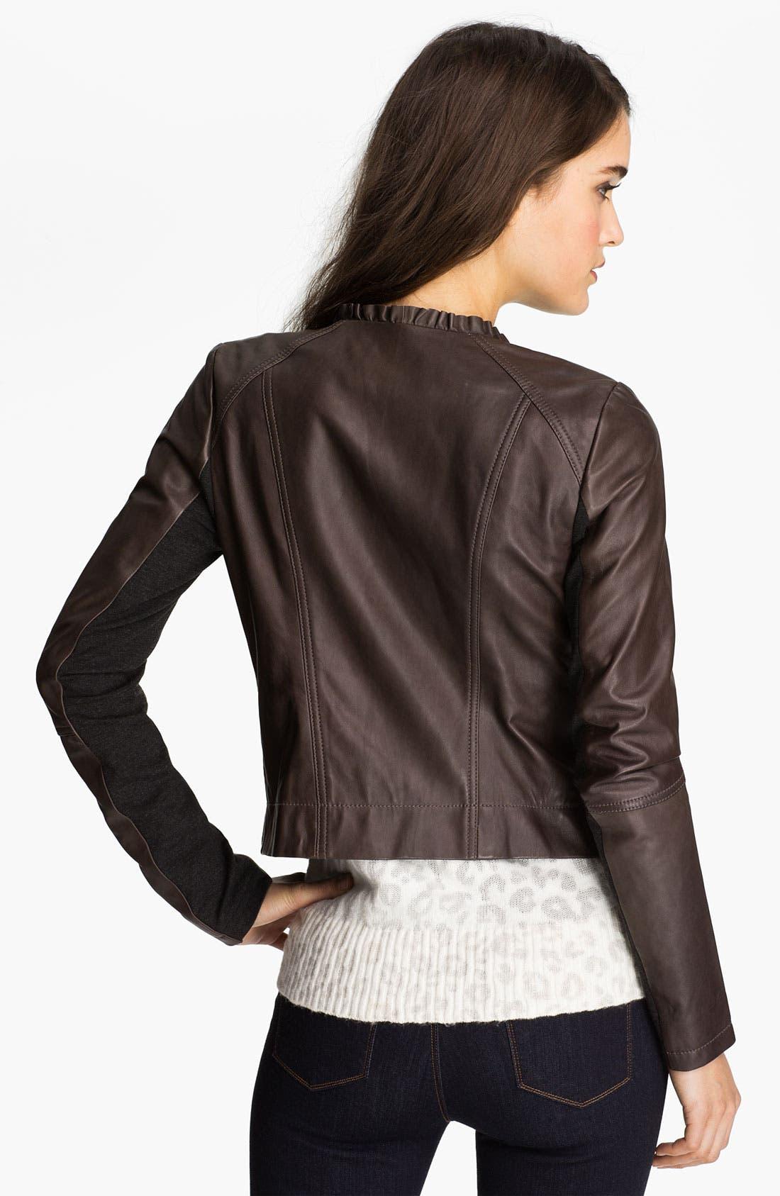 Alternate Image 2  - Hinge® Ruffle Neck Leather Jacket