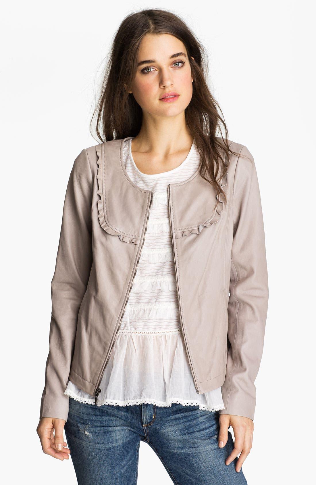 Main Image - Hinge Ruffle Bib Leather Jacket