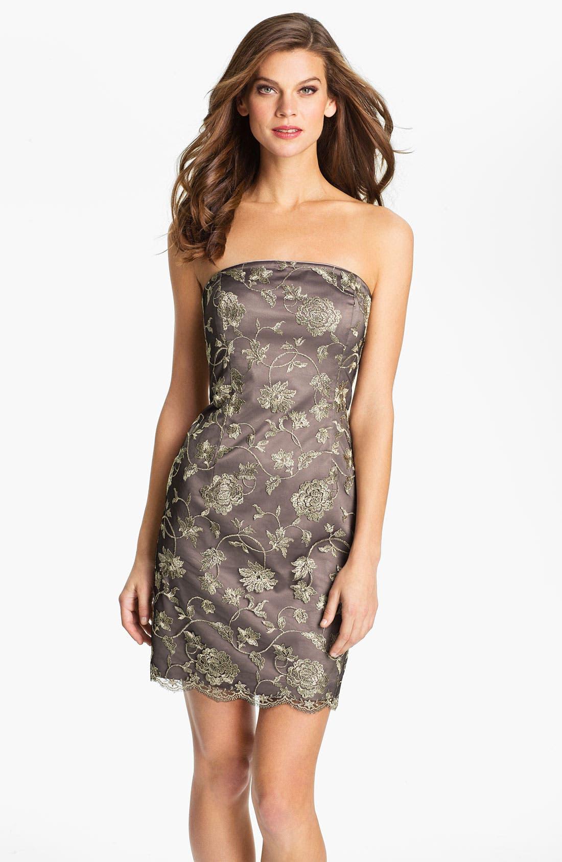 Alternate Image 1 Selected - Adrianna Papell Strapless Mesh Overlay Dress