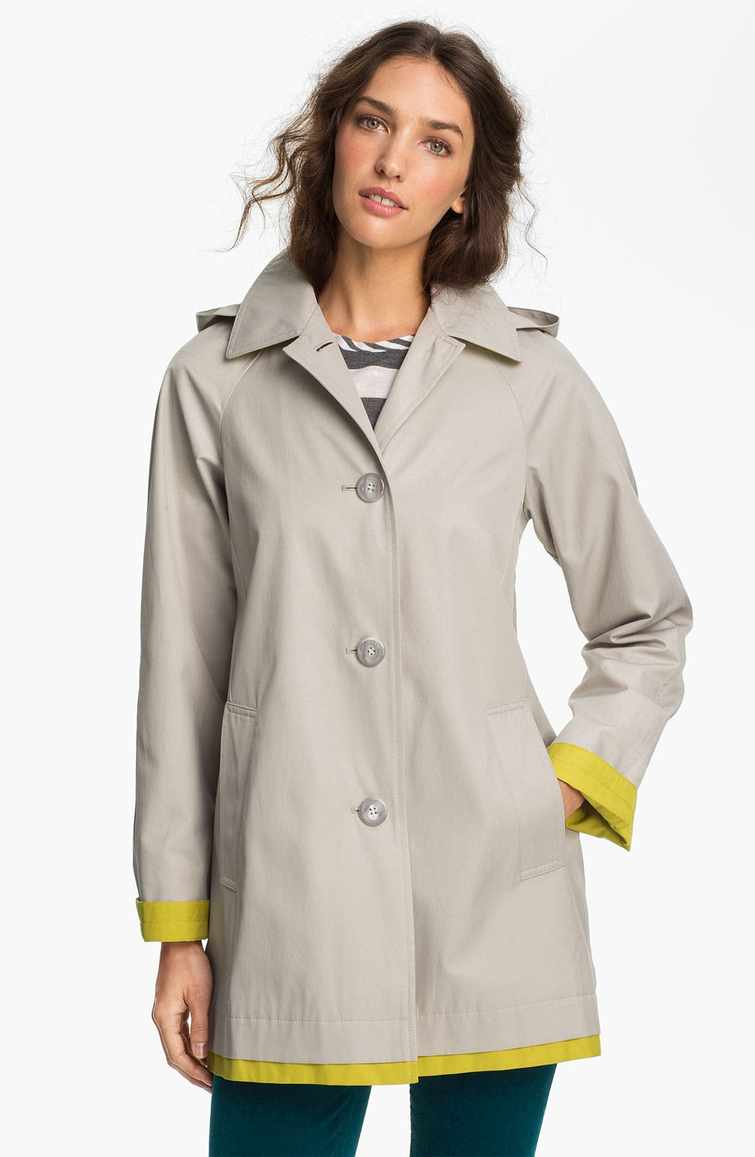 Alternate Image 1 Selected - Gallery 'Pop of Color' A-Line Coat (Online Only)