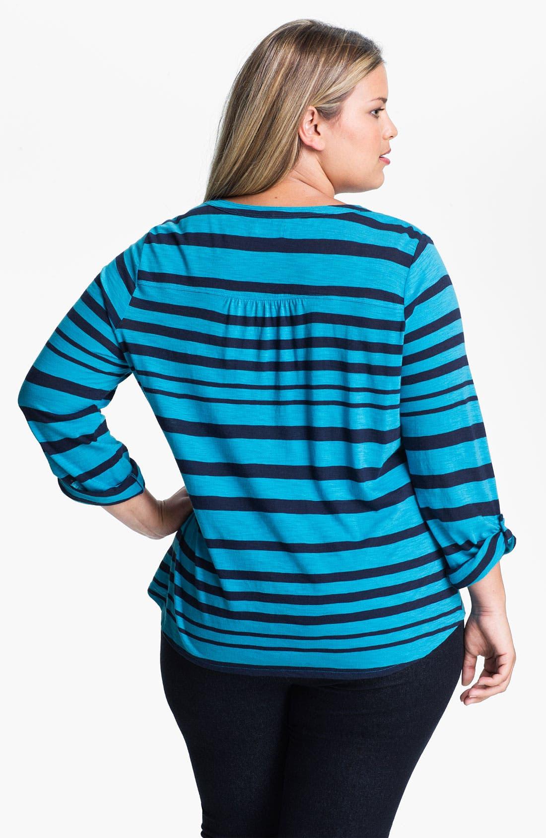 Alternate Image 2  - Lucky Brand 'Gayle' Stripe Henley (Plus)