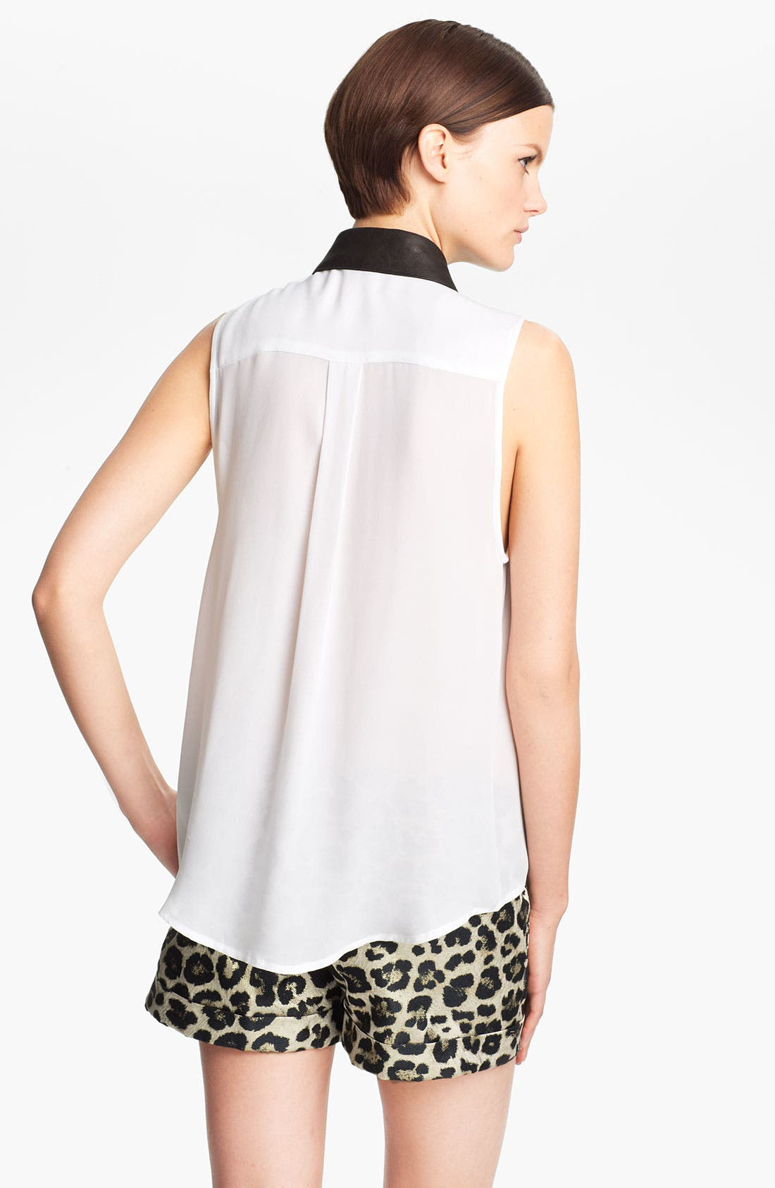 Alternate Image 2  - Alice + Olivia 'Loira' Leather Collar Silk Blouse