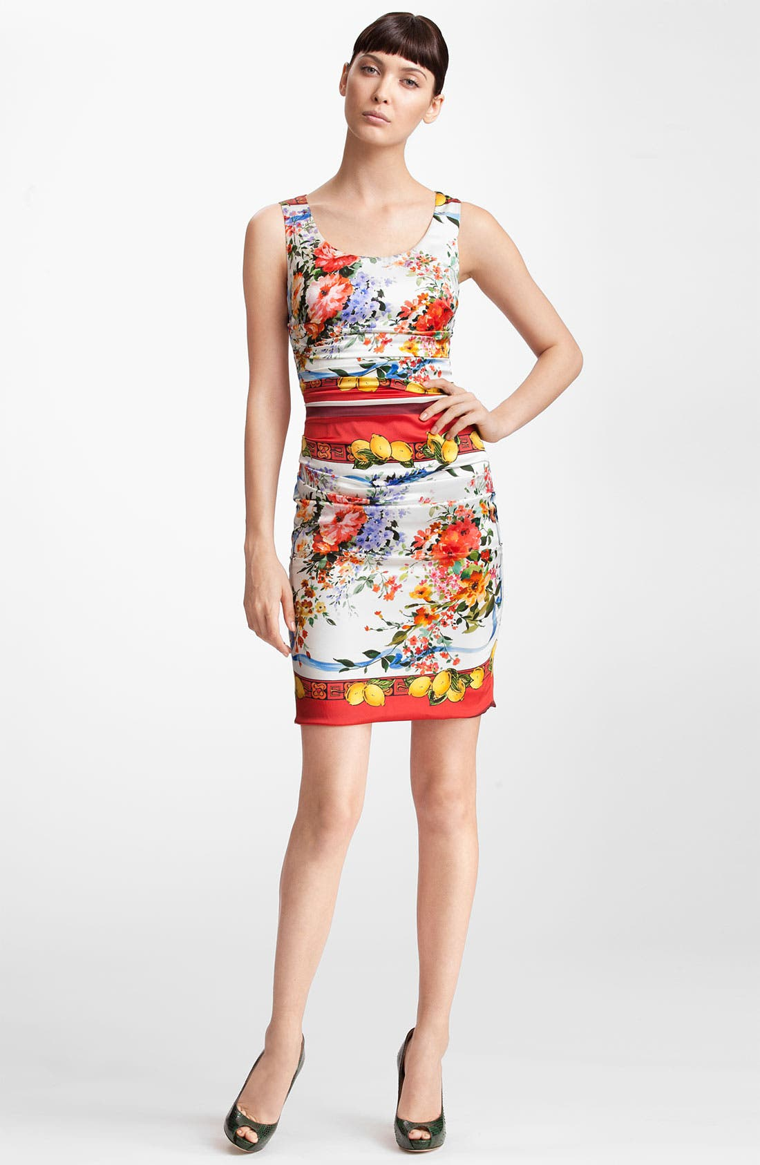 Main Image - Dolce&Gabbana Floral Print Stretch Satin Dress